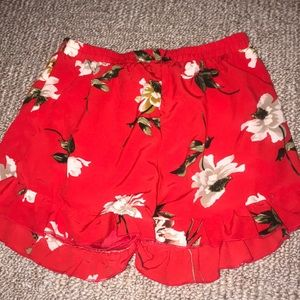 Pants - Red floral high waisted shorts